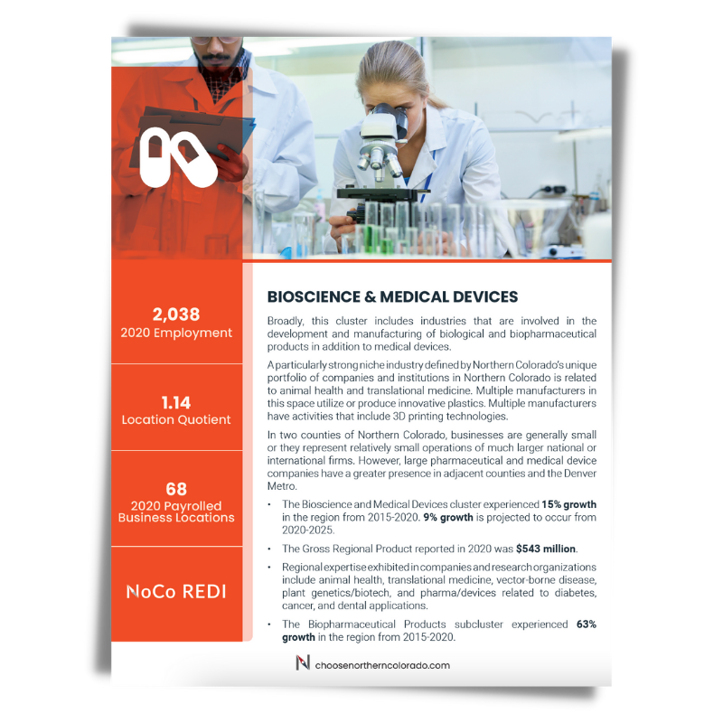 Cover image of Bioscience and Medical Devices growth industry cluster data sheet.