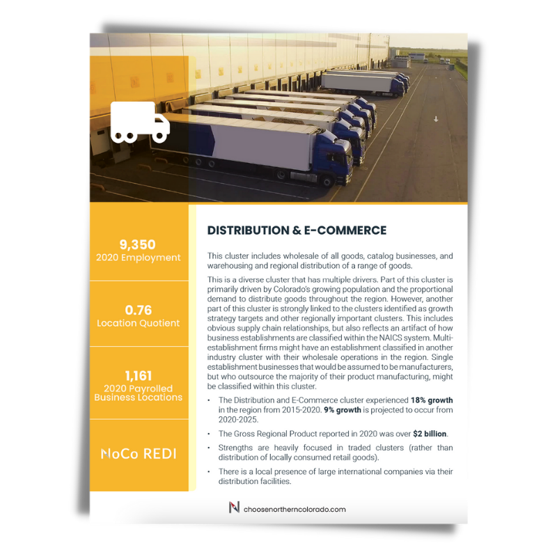 Cover image of Distribution and E-Commerce growth industry cluster data sheet.