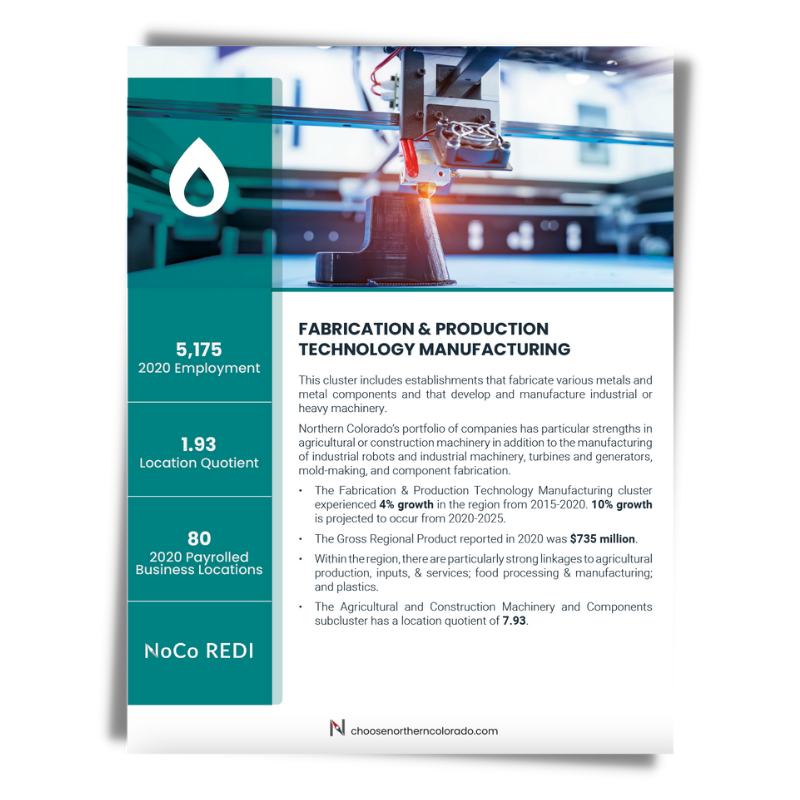 Cover image of Fabrication and Production Technology growth industry cluster data sheet.