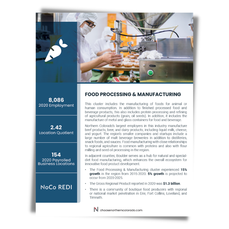 Cover image of Food Production and Manufacturing growth industry cluster data sheet.