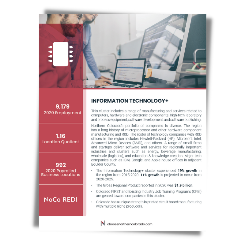 Cover image of Information Technology growth industry cluster data sheet.