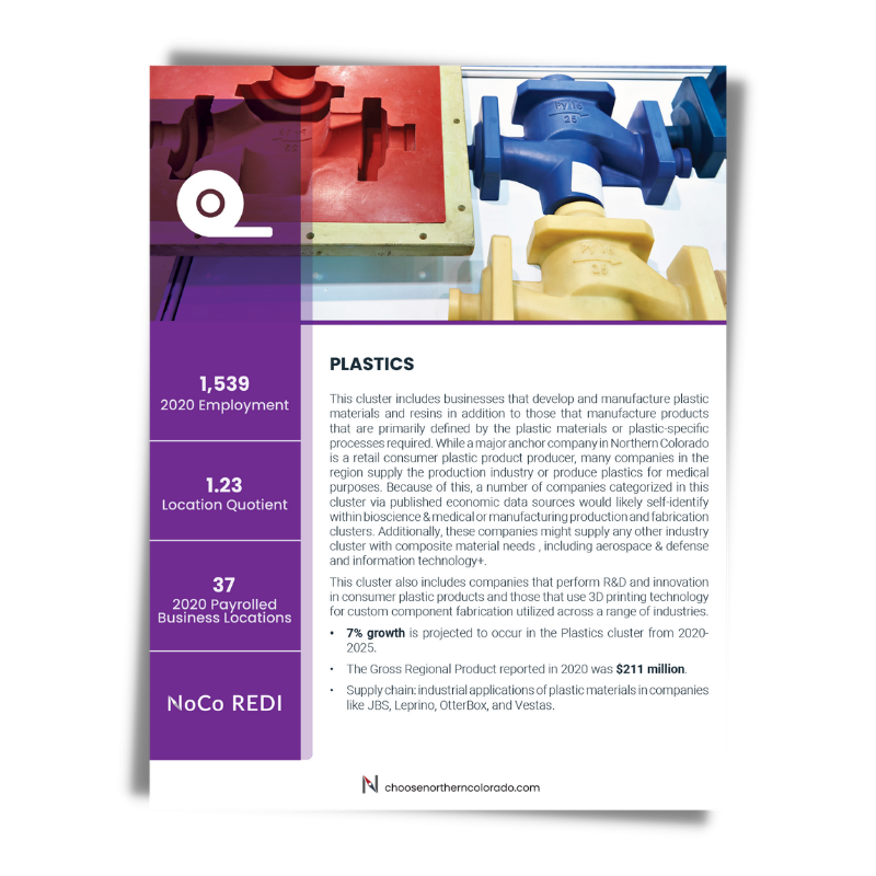 Cover image of Plastics growth industry cluster data sheet.